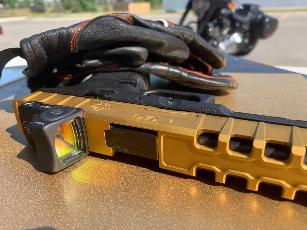 GFG Spider Slide for GLOCK 17 generation 4 with Titanium Nitride coating and Trijicon RMR cut