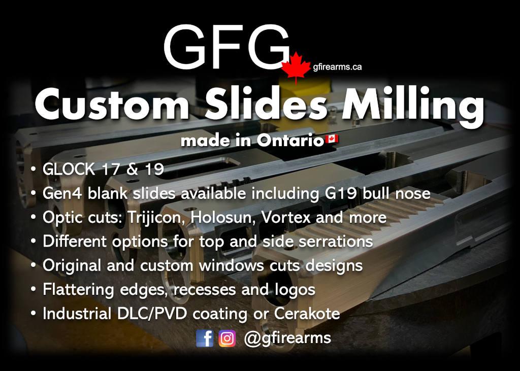 GFG CUSTOM GLOCK SLIDES MILLING ONTARIO CANADA